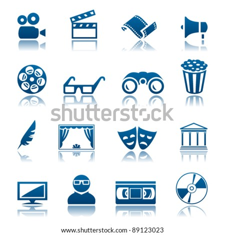 Cinema and theatre icon set - stock vector