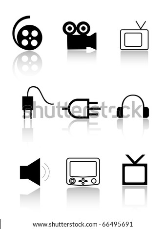 Cinema and TV icons. Cinema and TV signs - stock vector