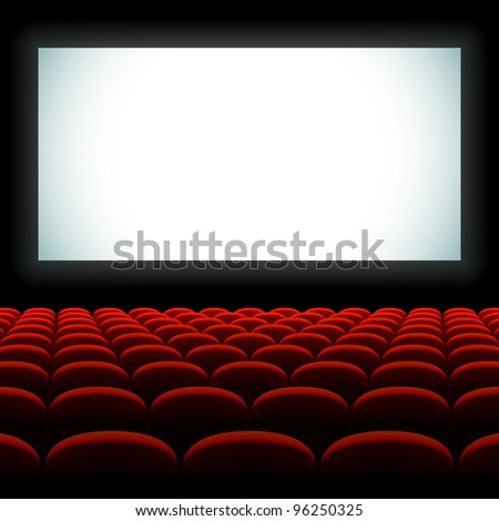 Cinema auditorium with screen and seats. Vector.