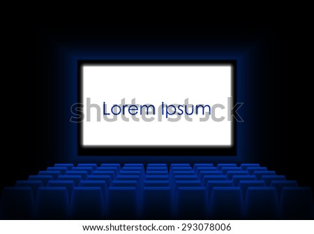 Cinema auditorium with screen, seats and spectators. Dark cinema with a luminous white screen and an example text. Vector illustration