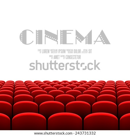 Cinema auditorium with white screen and red seats. Vector. - stock vector