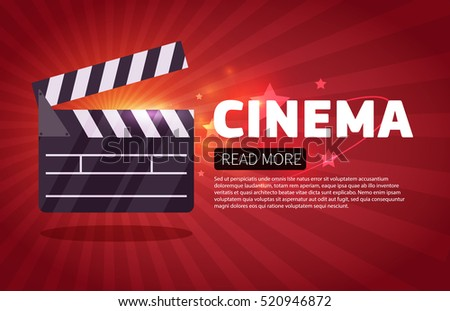 Cinema Background Banner Movie Flyer Ticket Stock Vector