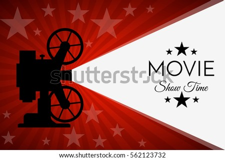 Movie Cinema Premiere Poster Design Red Stock Vector
