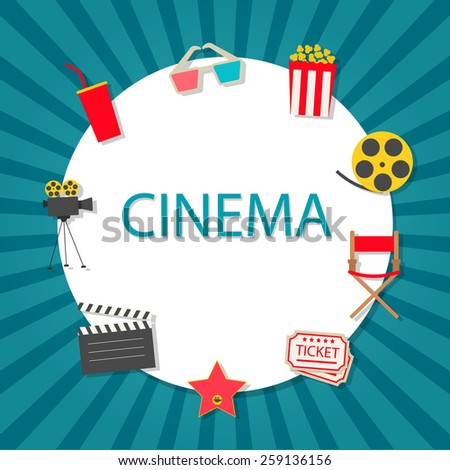 Cinema background with cinema icons set in flat design style, vector illustration. Popcorn, soda with straw, tickets, filmstrip etc. - stock vector