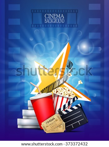 Cinema background with film reel, clapper, popcorn, tickets and star.