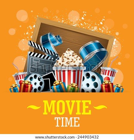 Cinema Background with movie film reel, popcorn and present boxes - stock vector
