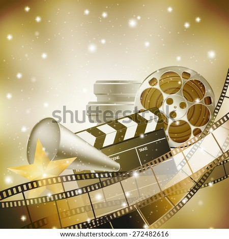 cinema background with retro filmstrip, clapper and stars - stock vector