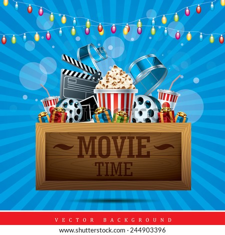 Cinema Background with wooden tablet, movie film reel, popcorn and present boxes - stock vector