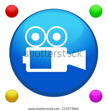 Cinema camera icon button vector with 4 color background included - stock vector