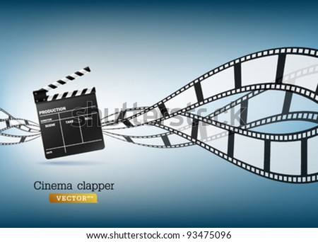 Cinema clapper and film vector illustration - stock vector