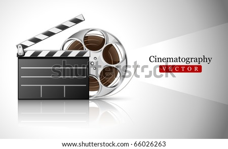 cinema clapper and video film tape on disc vector illustration - stock vector