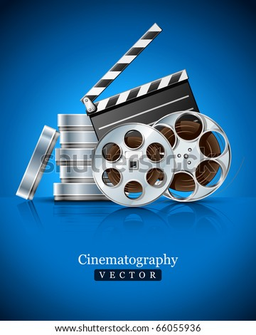 cinema clapper and video film tape on disc vector illustration on blue background - stock vector