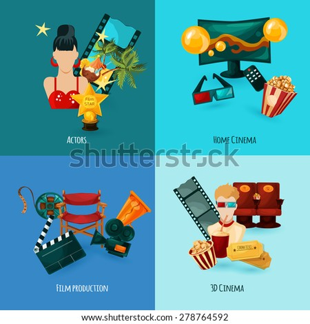 Cinema design concept set with actors film production cartoon icons isolated vector illustration - stock vector