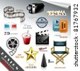 Cinema Design Elements and Icons - stock photo