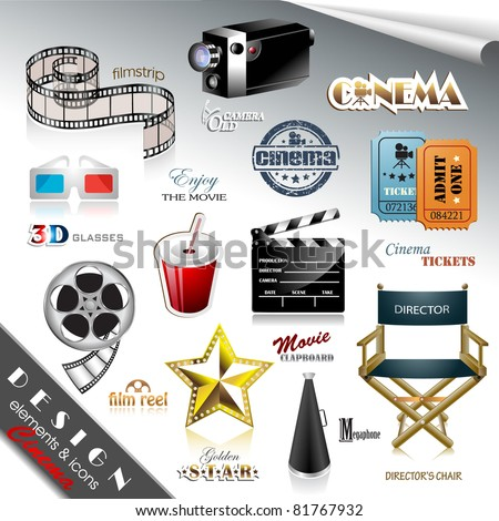 Cinema Design Elements and Icons - stock vector