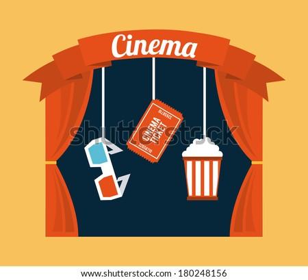 cinema design over cream background vector illustration - stock vector