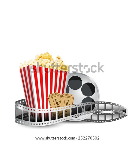 cinema; disposable cup for beverages with straw, film strip, clapper board and ticket. Cinema Poster Design Template. Detailed vector