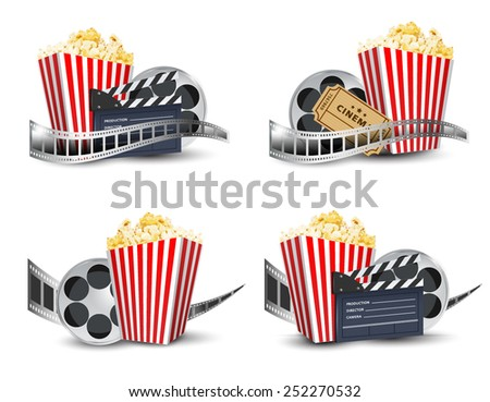 cinema; disposable cup for beverages with straw, film strip, clapper board and ticket. Cinema Poster Design Template. Detailed vector  - stock vector