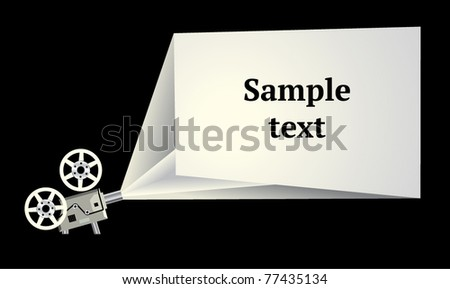 Cinema exposition frame with film projector - stock vector