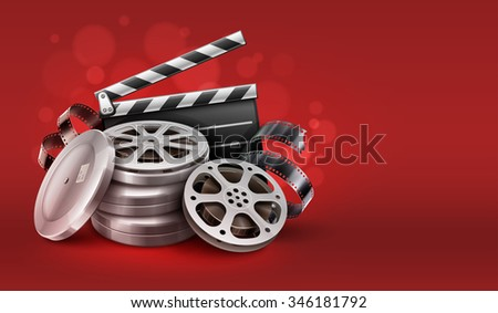 Cinema film movie tape disks in boxes and directors clapper for filmmaking. Vector Illustration - stock vector