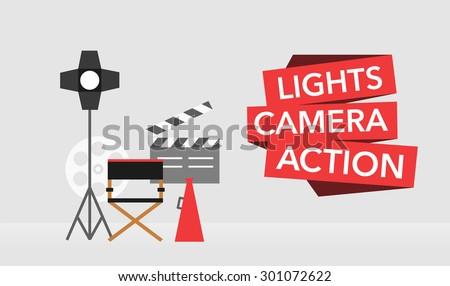 cinema flat template background vector on grey - stock vector