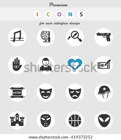 Cinema Genre Web Icons User Interface Stock Vector 2018 619373252