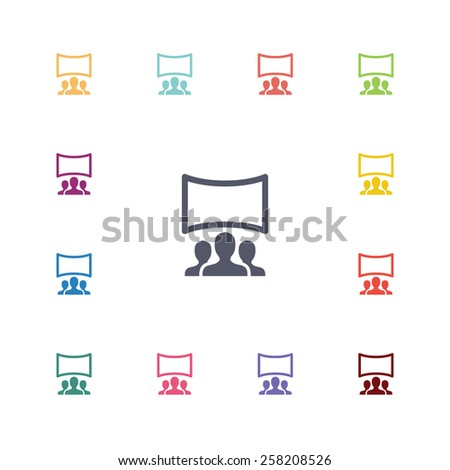 cinema hall flat icons set. Open colorful buttons  - stock vector