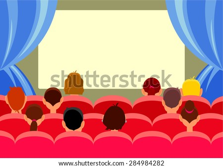 Cinema hall with people. Vector flat illustration - stock vector