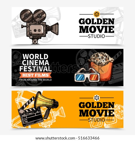Cinema horizontal banners with studio title camera clapperboard popcorn 3d glasses and megaphone vector illustration