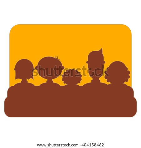 Cinema Icon Isolated on White Background. Movie Placard. People Watch Movies. Vector Illustration. - stock vector