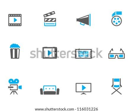Cinema icon series in duo tone color style - stock vector