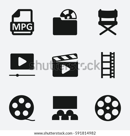 cinema icon. Set of 9 cinema filled icons such as movie tape, movie, video, video folder, MPG, film clapper, cinema, director chair