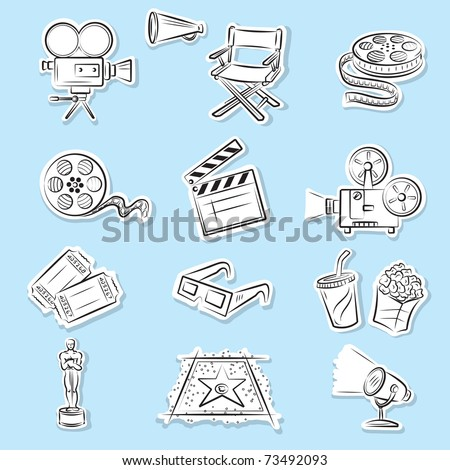 Cinema Icons Set - stock vector