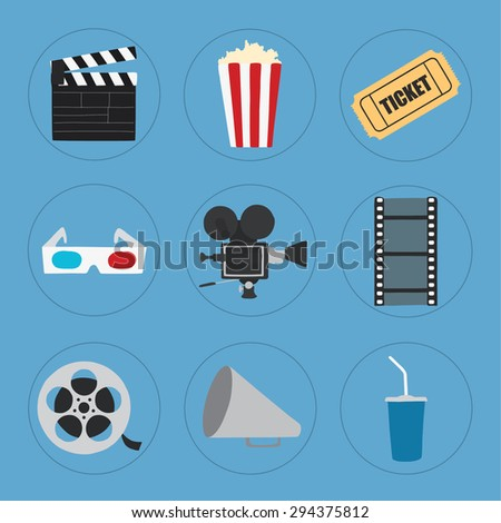 Cinema icons set for use in advertising, presentations, brochures, blogs, documents and forms, etc.