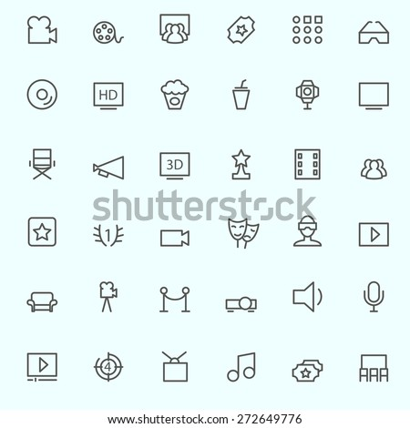Cinema icons, simple and thin line design - stock vector