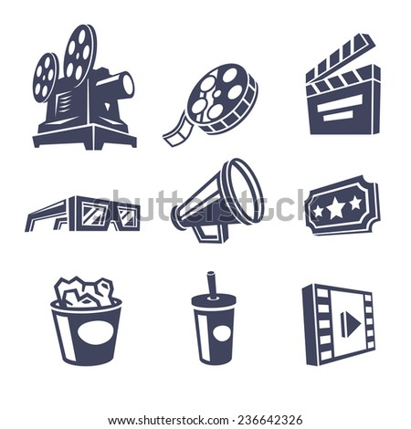 Cinema icons. Vector illustration. - stock vector