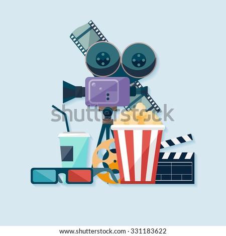 Cinema illustration. Flat design. - stock vector