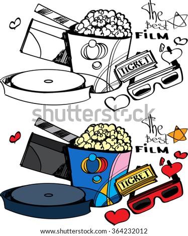 Cinema, love, popcorn and ticket - stock vector