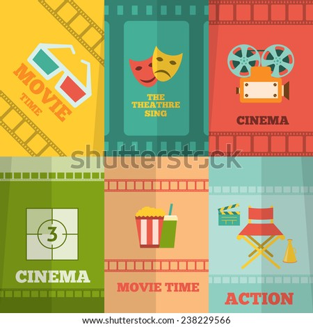 Cinema movie action film tickets snacks glasses retro symbols six flat icons composition abstract isolated vector illustration - stock vector