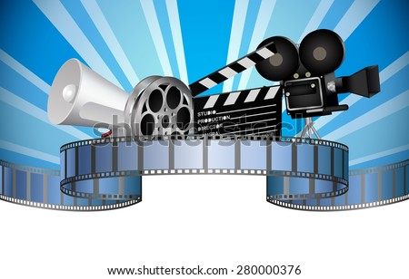 Cinema, movie, film and video media industry. Vector - stock vector