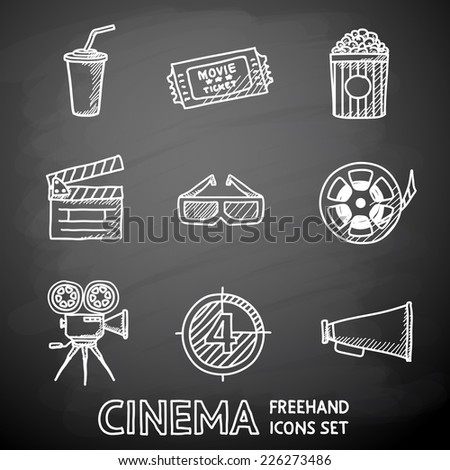 Cinema (movie) painted on black chalkboard icons set with - cinema projector, film strip, 3D glasses, clapboard, popcorn in a striped tub, cinema ticket, glass of drink. - stock vector