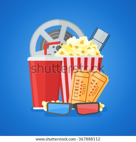 Cinema movie poster design template with film reel and strip, ticket, popcorn, soda takeaway, 3d glasses. Flat style vector illustration. - stock vector
