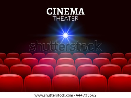 Cinema movie red seats interior. Premiere showtime cinema theater background.