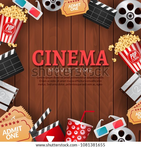 Cinema Movie Theater Poster Template Film Reel Popcorn Clapper 3D Glasses