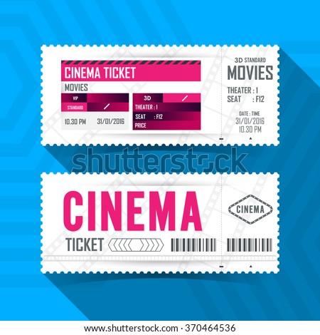 Cinema Movie Ticket Card modern element design. - stock vector