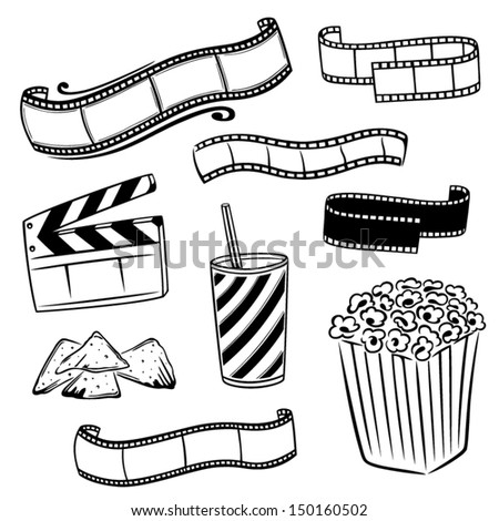 Cinema, movie, tv, film, vector set