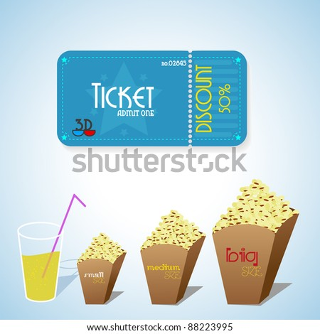 Cinema objects. Ticket, popcorn and drinks. Vector - stock vector