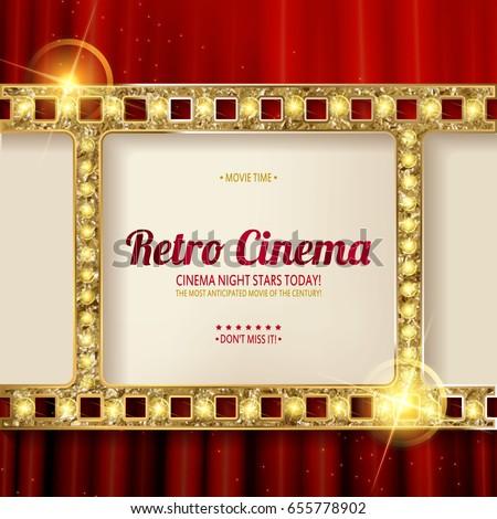 Cinema Poster Gold Frame On Background Vector de stock655778902 ...