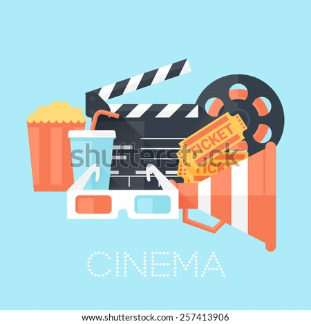 Cinema Poster with Glasses, Megaphone, Tickets, Bobbin, Clapper Board, Popcorn and Drink. Flat Style with Long Shadows. Clean Design. Vector Illustration. - stock vector