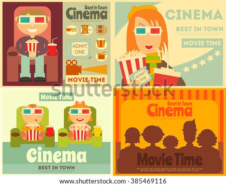 Cinema Posters Set. Movie Collection Placards in Retro Style. People Watch Movies. Vector Illustration. - stock vector